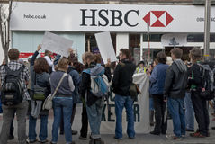 Occupy Exeter supporters and rally outside HSBC in Stock Image