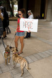 Occupy Honolulu/anti-APEC Protest-10. Woman and dogs holding anti- APEC sign. Members of Occupy Honolulu gathered at an Occupy movement and anti-APEC protest Stock Image