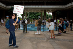 Occupy Honolulu/anti-APEC Protest-2. Members of Occupy Honolulu gathered at an Occupy movement and anti-APEC protest rally at the Hawaii State Capitol in Royalty Free Stock Image