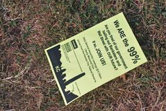 Occupy Kansas City Flyer Dropped on the Ground Stock Photo