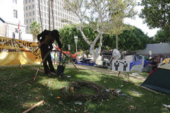 Occupy LA camping tent village Stock Image