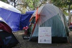 Occupy LA camping tent village Stock Photos