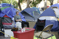 Occupy LA camping tent village Stock Photo
