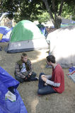 Occupy LA camping tent village Royalty Free Stock Photo
