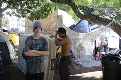 Occupy LA camping tent village Stock Photography