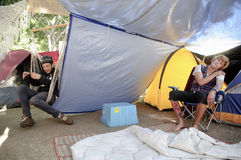 Occupy LA camping tent village Stock Images