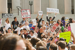 Occupy LA Demonstrators March In Los Angeles Stock Photography