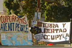 Occupy LA Signs and Banners At Encampment Royalty Free Stock Images