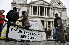 Occupy London encampment at St Paul's Cathedral Royalty Free Stock Photography
