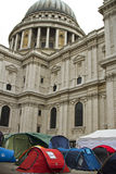 Occupy London Stock Exchange. Occupy London at St. Pauls Cathedral and London Stock Exchange. Tents in front of Cathedral Royalty Free Stock Photos