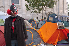 Occupy London Stock Exchange protesters. Protester Barry Daft a clown from Yorkshire, taking part in the Occupy London protest camp outside St Paul's cathedral Stock Photography