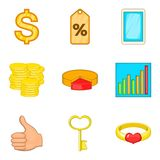 Occupy money icons set, cartoon style. Occupy money icons set. Cartoon set of 9 occupy money vector icons for web isolated on white background Royalty Free Stock Photo