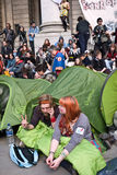 Occupy protestors at the Royal Exchange. Royalty Free Stock Photos