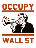 Occupy Wall Street American Worker. Illustration of American people protesting with placard signs and stars and stripes flag that also dramatizes support of the stock illustration