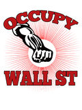 Occupy Wall Street American Worker. Retro style illustration of male worker protesting with clenched fist and words occupy wall street that also dramatizes royalty free illustration