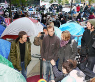Occupy Wall Street Protest. Demonstrators strategize at their encampment in Zuccotti Park in lower Manhattan during the Occupy Wall Street Protest Royalty Free Stock Photos