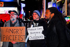Occupy Wall Street protest in Times Square. Royalty Free Stock Images