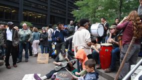 Occupy Wall Street Protesters Singing stock video