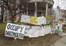Occupy Wall Street Via Dartmouth College. Ivy League university, Dartmouth College's version of the Occupy protest against inequality Stock Photography