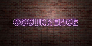 OCCURRENCE - fluorescent Neon tube Sign on brickwork - Front view - 3D rendered royalty free stock picture Stock Photo