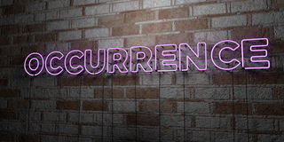OCCURRENCE - Glowing Neon Sign on stonework wall - 3D rendered royalty free stock illustration Royalty Free Stock Image