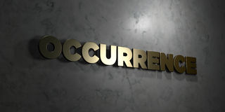 Occurrence - Gold text on black background - 3D rendered royalty free stock picture Stock Images