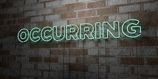 OCCURRING - Glowing Neon Sign on stonework wall - 3D rendered royalty free stock illustration Royalty Free Stock Images