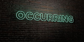 OCCURRING -Realistic Neon Sign on Brick Wall background - 3D rendered royalty free stock image. Can be used for online banner ads and direct mailers stock illustration