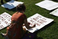 Occypy Lissabon - Globale Protesten 15 van de Massa Oktober Stock Foto's