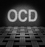 OCD Concept. And obsessive compulsive disorder medical symbol as a group of roads organized in a pattern hitting a brick wall with the text in light as an icon vector illustration