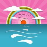 Oceaan Abstracte Zonsondergang, Zonsopgang Vectorillustratie Royalty-vrije Stock Afbeelding