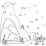 Oceaan achtergrond De overzeese bodem van het panoramalandschap Het zwart-witte pictogram van de lijnkunst Kleurende boekpagina v royalty-vrije illustratie