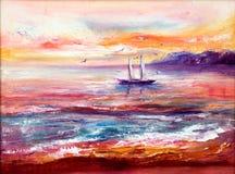 Oceaan, boot en zonsondergang stock fotografie