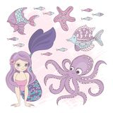 OCEAAN de Illustratiereeks van Summer Cruise Vector van de Meerminprinses royalty-vrije illustratie