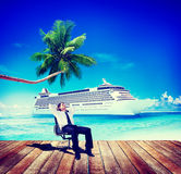 Oceaan de Vakantieconcept van zakenmanrelaxing rest beach stock illustratie