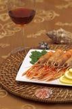 Oceaan delicatessegarnalen op diner Stock Fotografie