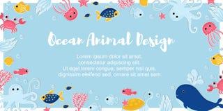 Oceaan dierlijke ontwerpachtergrond royalty-vrije illustratie