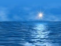 Oceaan en zon stock afbeeldingen