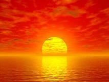 Oceaan en zonsondergang Royalty-vrije Stock Foto's