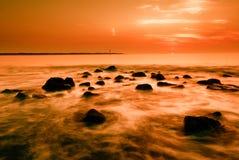 Oceaan en zonsondergang Royalty-vrije Stock Afbeelding