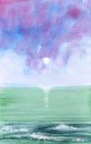 Oceaan golven - watercolour stock illustratie