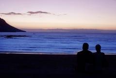 Oceaan mening bij zonsondergang. stock afbeelding