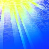 Oceaan onderwater vectorachtergrond met helder zonlicht, illustratie van de beeldverhaal de onderzeese achtergrond royalty-vrije illustratie