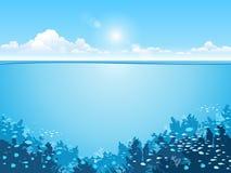 Oceaan onderwaterwereld met dieren, vectorillustratie royalty-vrije illustratie