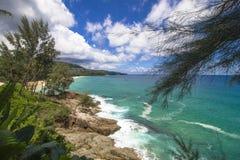 Oceaan overzees steenstrand Stock Foto's
