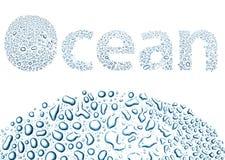 Oceaan van waterdalingen wordt gemaakt, achtergrond op wit dat stock illustratie