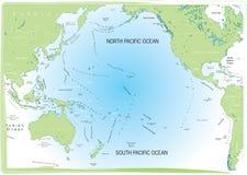 Oceaan Vreedzame kaart. Stock Afbeeldingen