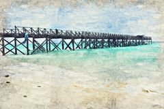Oceaan zeegezicht Digitaal die Art Impasto Oil Painting door Phot wordt gecreeerd royalty-vrije illustratie
