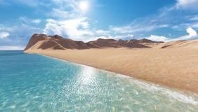 Oceaan, zon, strandlandschap royalty-vrije stock foto's