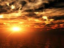 Oceaan zonsondergang Royalty-vrije Illustratie